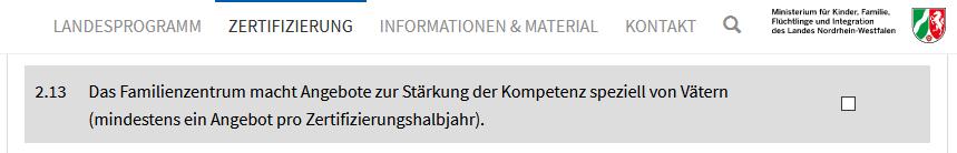 Information zur Zertifizierung durch Familienzentrum NRW